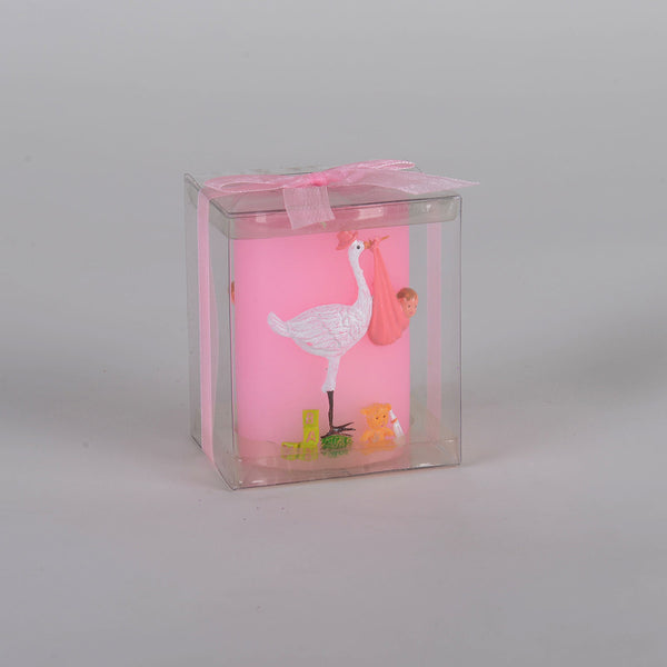 Stork Baby Candle - Pink