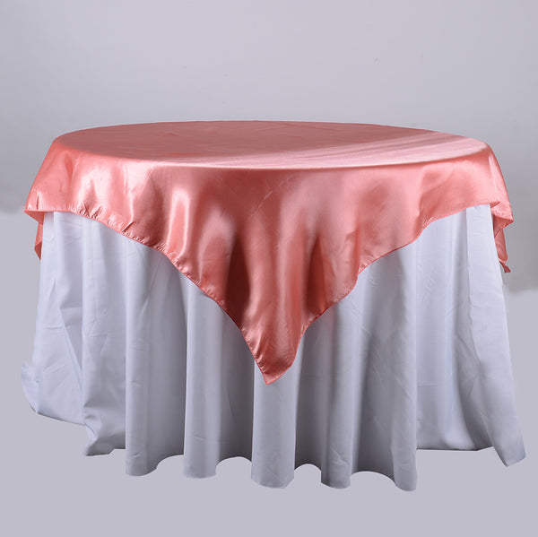 Coral - 90 x 90 Satin Table Overlays - ( 90 Inch x 90 Inch )