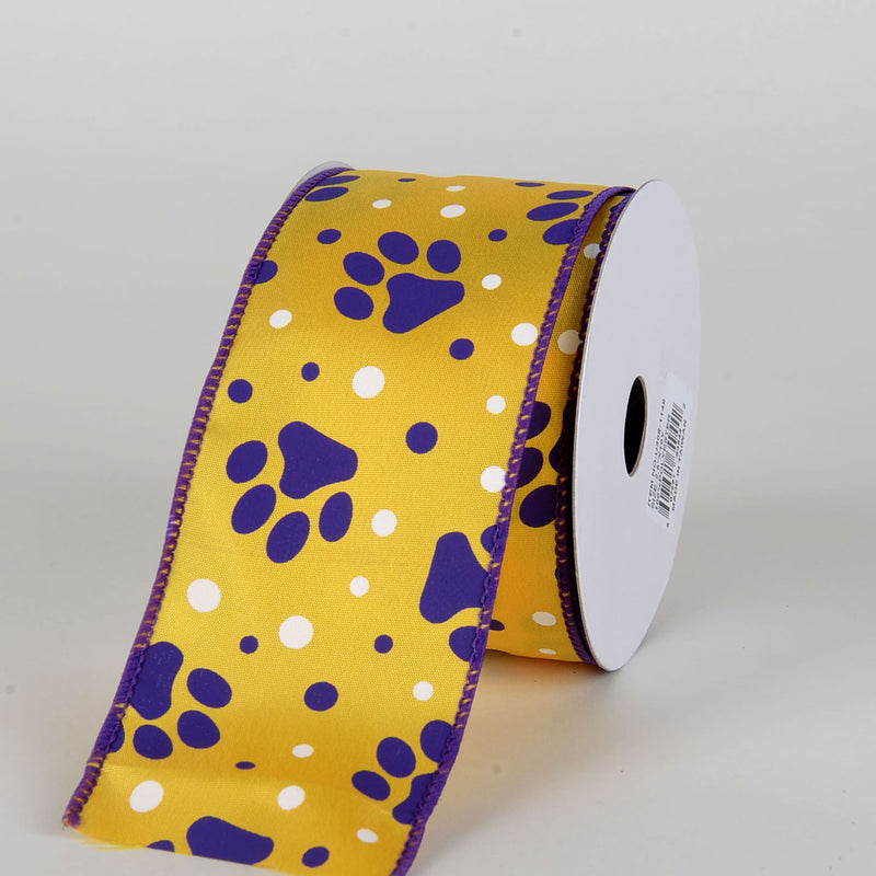 Yellow Satin Purple Paw Prints White Dots Ribbon ( 2-1/2 Inch x 10 Yards )