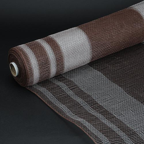 Brown with White  - Deco Mesh Striped Design -  ( 21 Inch x 10 Yards )