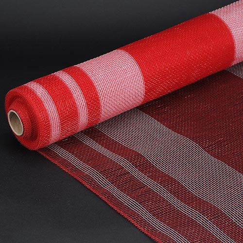 Red with White  - Deco Mesh Striped Design -  ( 21 Inch x 10 Yards )