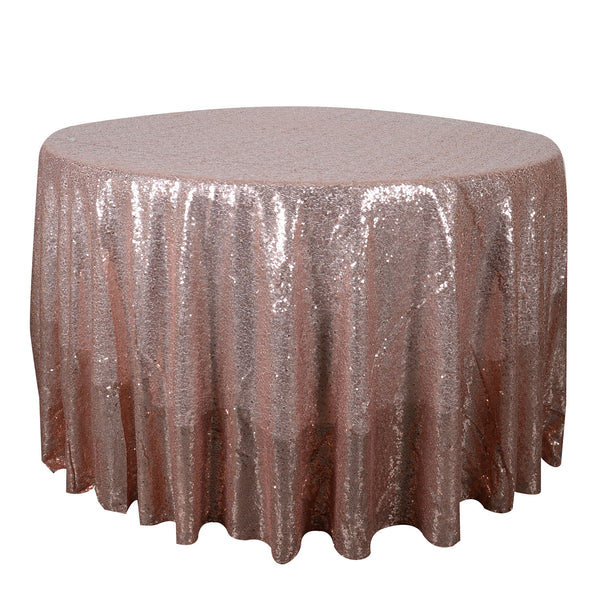 Blush 120 inch Round Duchess Sequin Tablecloth
