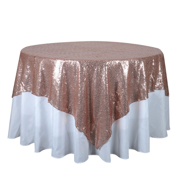 Blush 72 Inch x 72 Inch Square Duchess Sequin Overlay