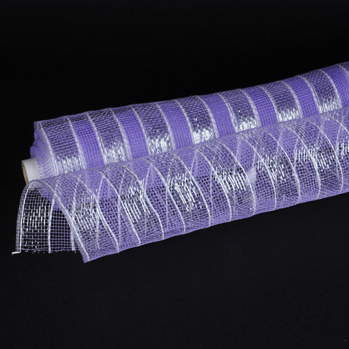 Lavender with Silver Lines  - Poly Deco Mesh Wrap with Laser Mono Stripe -  ( 21 Inch x 10 Yards )
