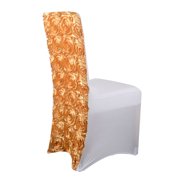 Rosette Spandex Chair Cover - Gold