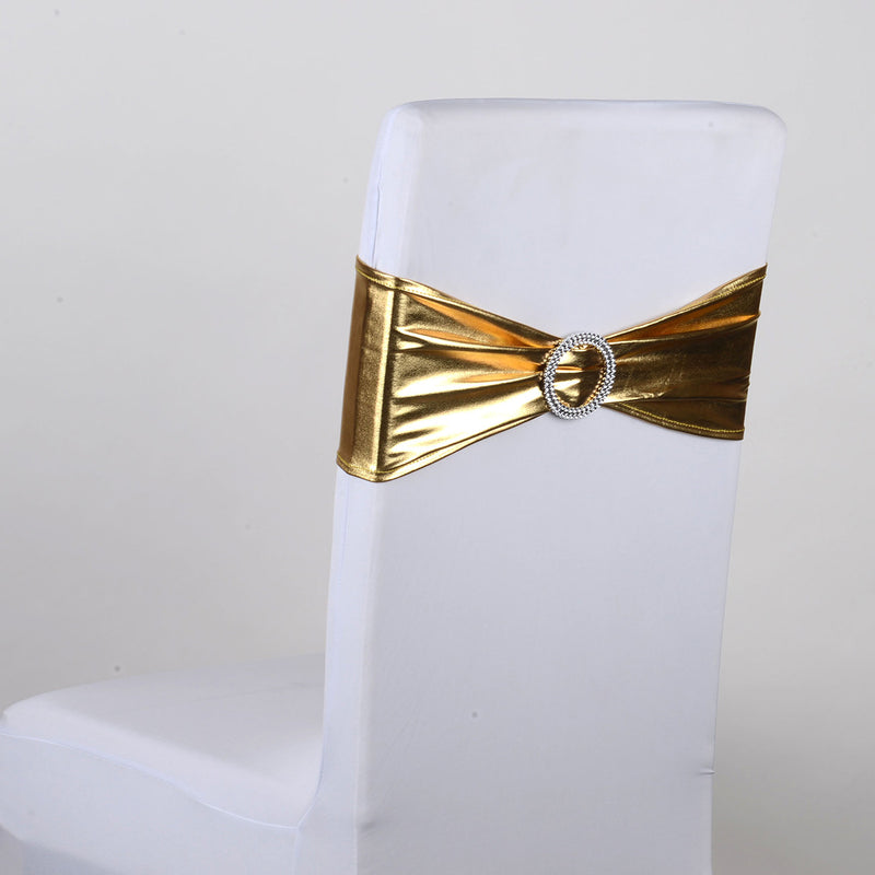 Spandex Chair Sash with Buckle - Gold  5 pieces