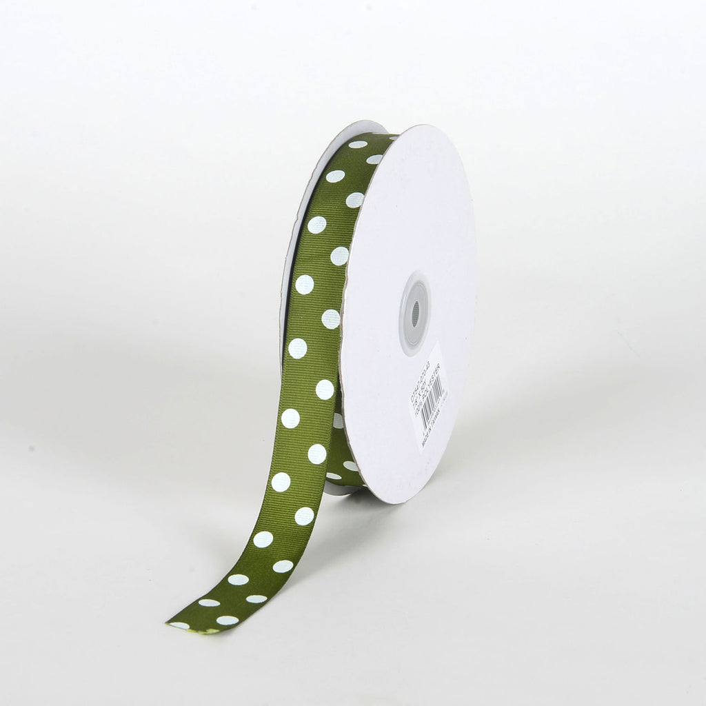 Grosgrain Ribbon Polka Dot Old Willow with White Dots ( 7/8 inch | 50 Yards )