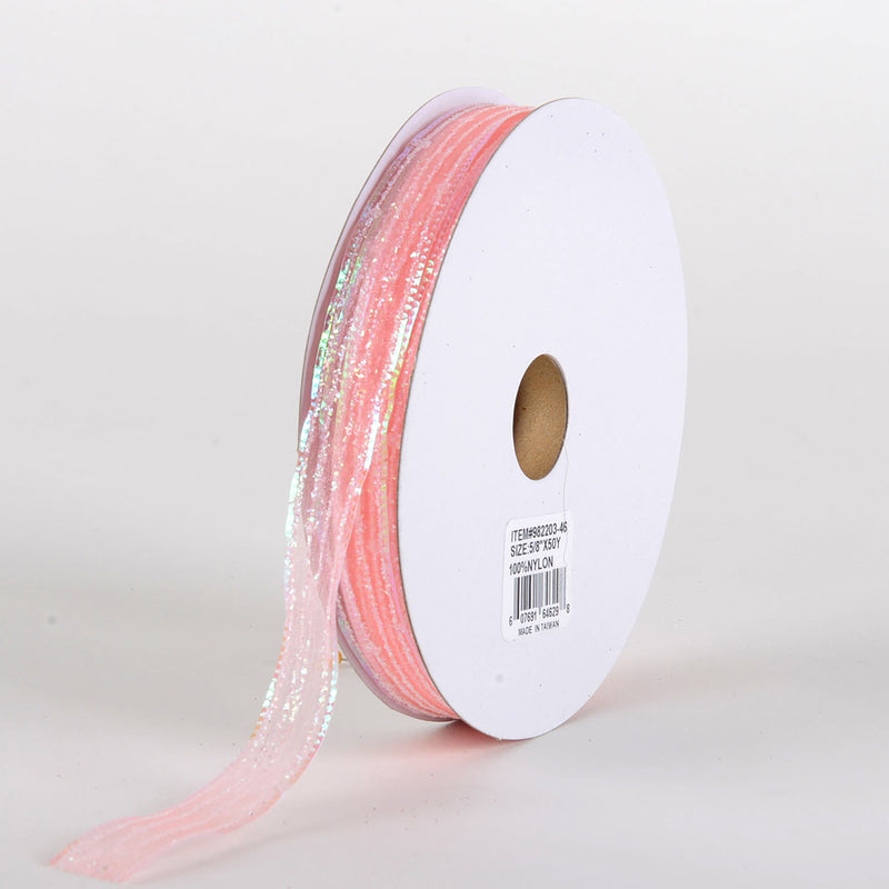 Glitter Corsage Ribbon Coral - ( 5/8 Inch 50 Yards )