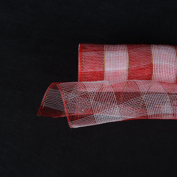 Red White  - Christmas Mesh Wraps -  ( 21 Inch x 10 Yards )