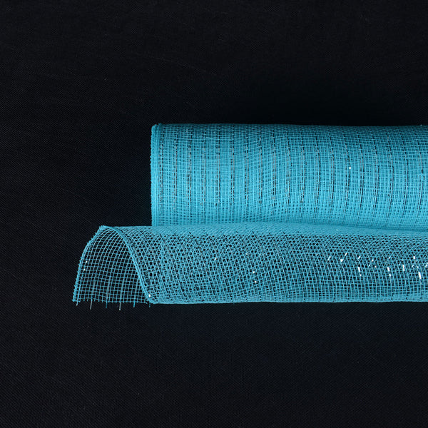 Aqua Blue - Deco Mesh Wrap Metallic Stripes -  ( 10 Inch x 10 Yards )