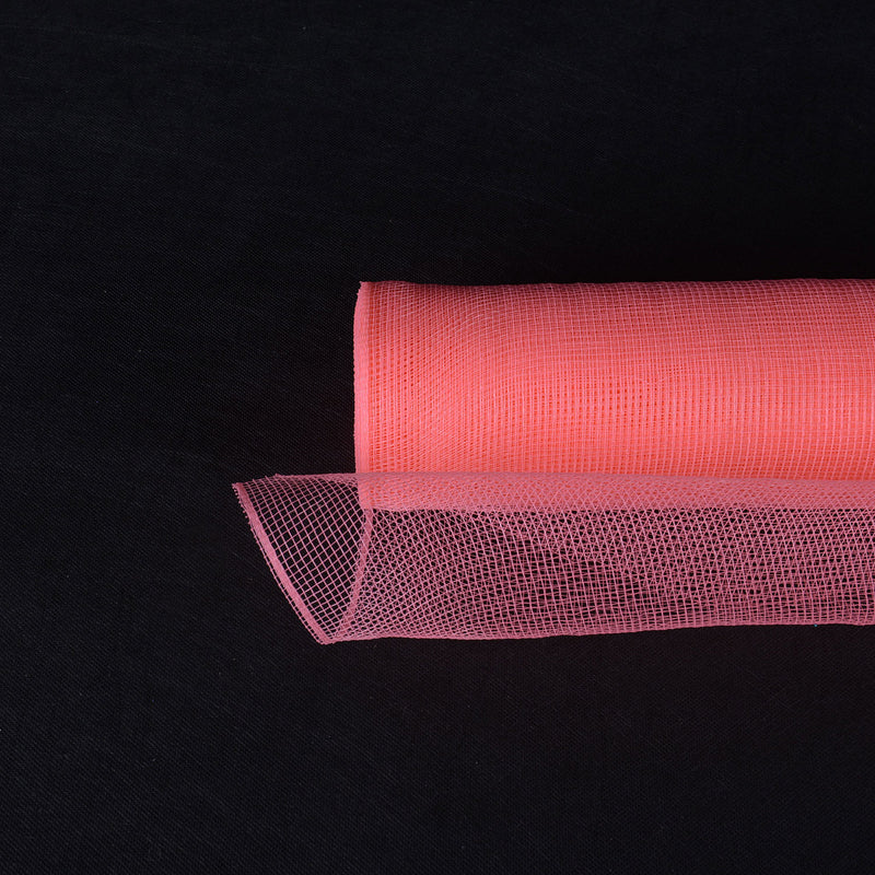 Coral  - Floral Mesh Wrap Solid Color -  ( 10 Inch x 10 Yards )
