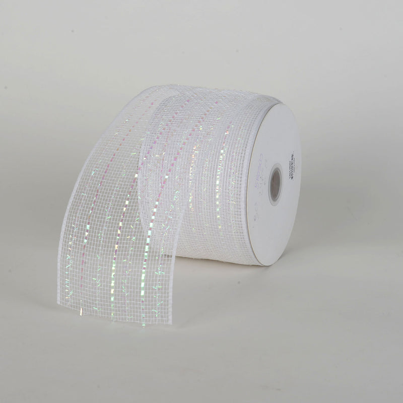 Laser Metallic Mesh Ribbon White Iridescent Line ( 4 Inch x 25 Yards )
