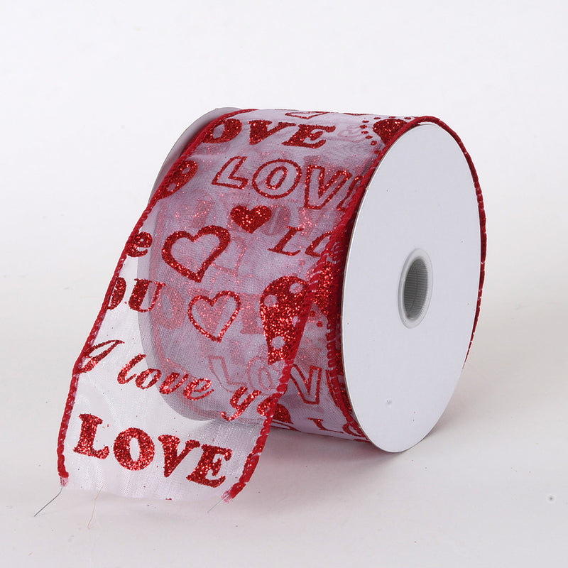 Valentine Ribbon Love & Hearts ( 2-1/2 Inch x 10 Yards ) - Q51124001