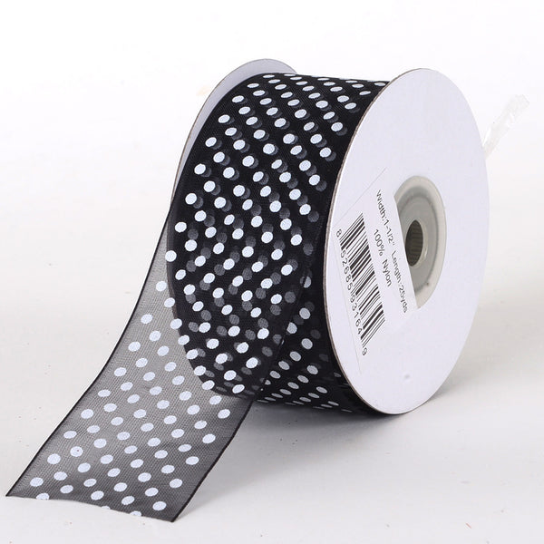 Black Organza Swiss Dot Ribbon ( W: 5/8 inch | L: 25 Yards )