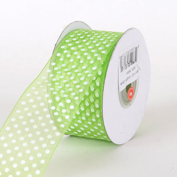 Apple Green Organza Swiss Dot Ribbon ( W: 7/8 inch | L: 25 Yards )