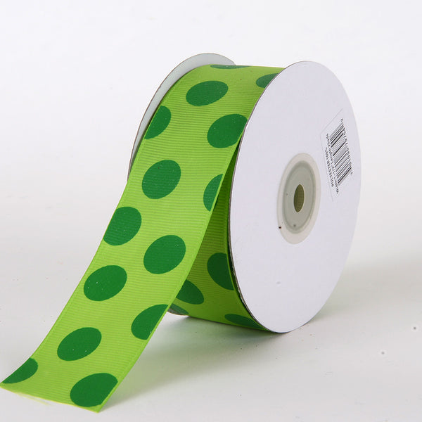 Grosgrain Ribbon Jumbo Dots Apple with Emerald Dots ( W: 1-1/2 inch | L: 25 Yards )