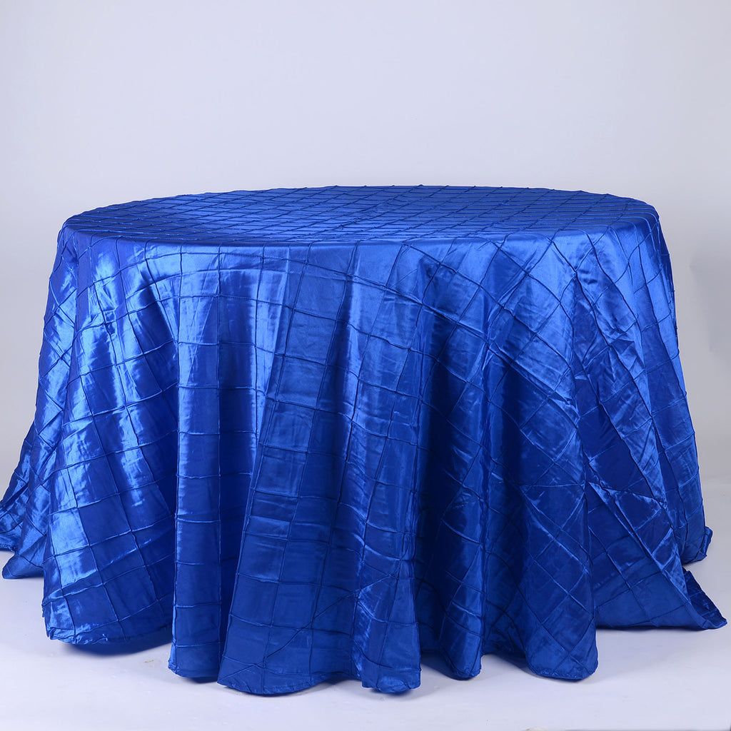 Royal Blue - 120 inch Round Pintuck Satin Tablecloth