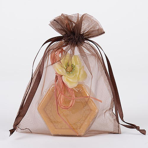 Chocolate Brown - Organza Bags - ( 5 x 6.5-7 Inch - 10 Bags )