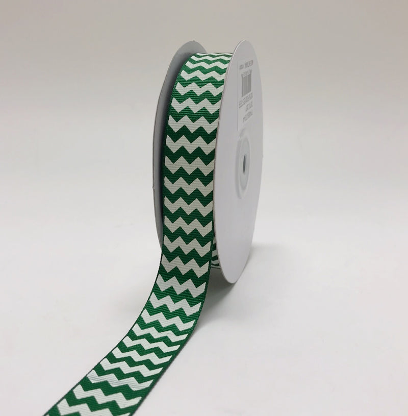 Emerald - Chevron Design Grosgrain Ribbon ( 7/8 inch | 25 Yards )