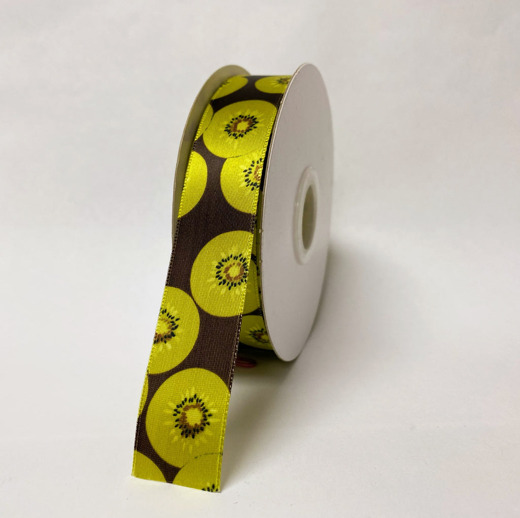Satin Ribbon Kiwi Design - ( W: 7/8 Inch | L: 25 Yards ) - 90140504