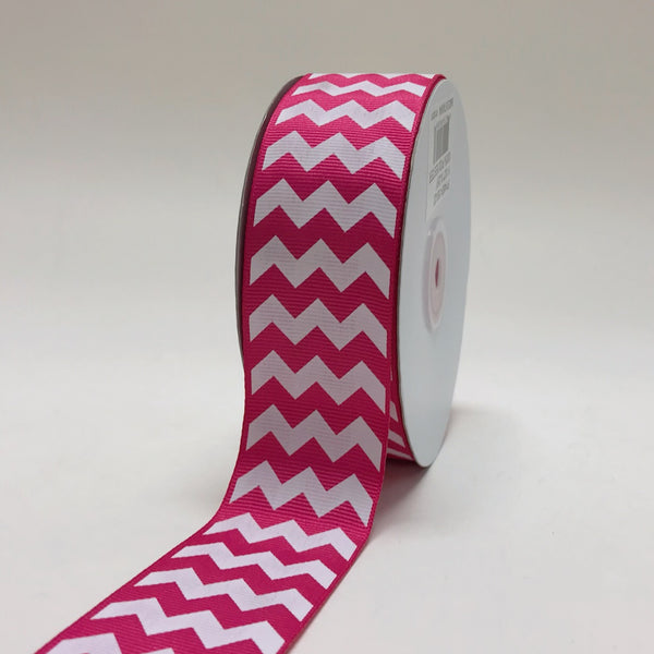 Fuchsia - Chevron Design Grosgrain Ribbon ( 1-1/2 inch | 25 Yards )