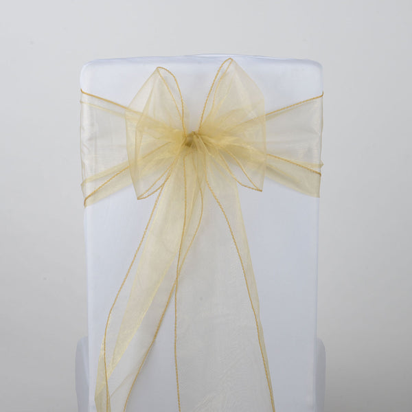 Gold - Organza Chair Sash - ( Pack of 10 Piece - 8 inches x 108 inches )
