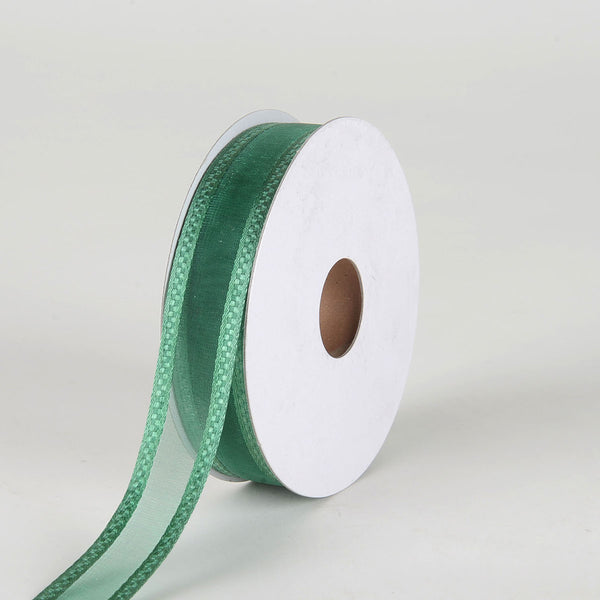 Hunter Green - Organza Check Edge Ribbon - (  7/8 Inch | 25 Yards  )