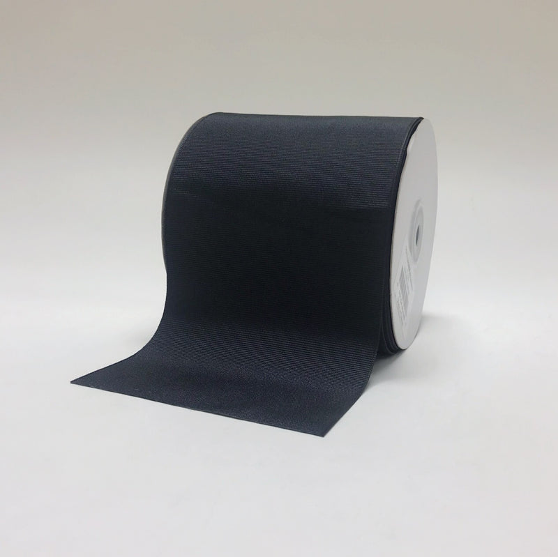 Black - Grosgrain Ribbon Solid Color - ( W: 4 Inch | L: 25 Yards )