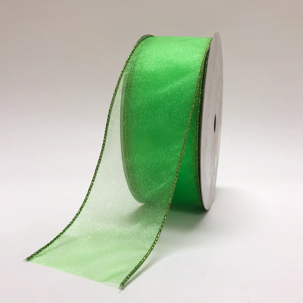 Apple Green Organza Christmas Ribbon - (2.5''x50yds) - JS12-101-09