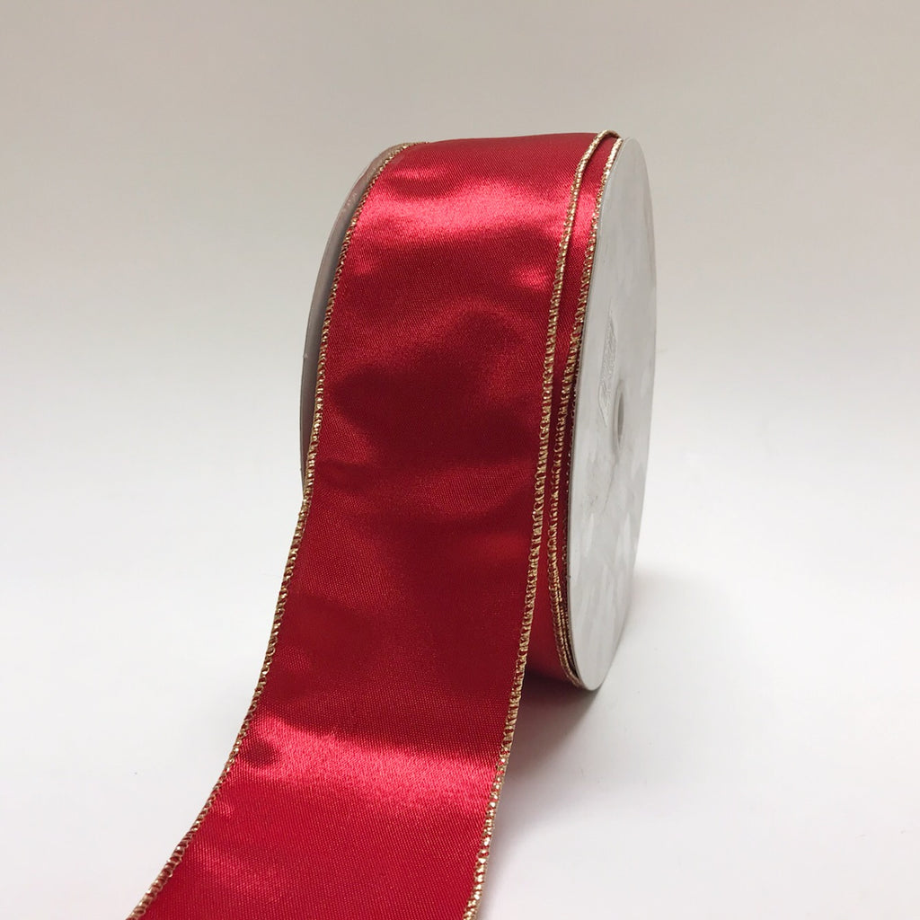 Red Satin Gold Edge Christmas Ribbon - (2.5''x50yds) - JS12-101-12