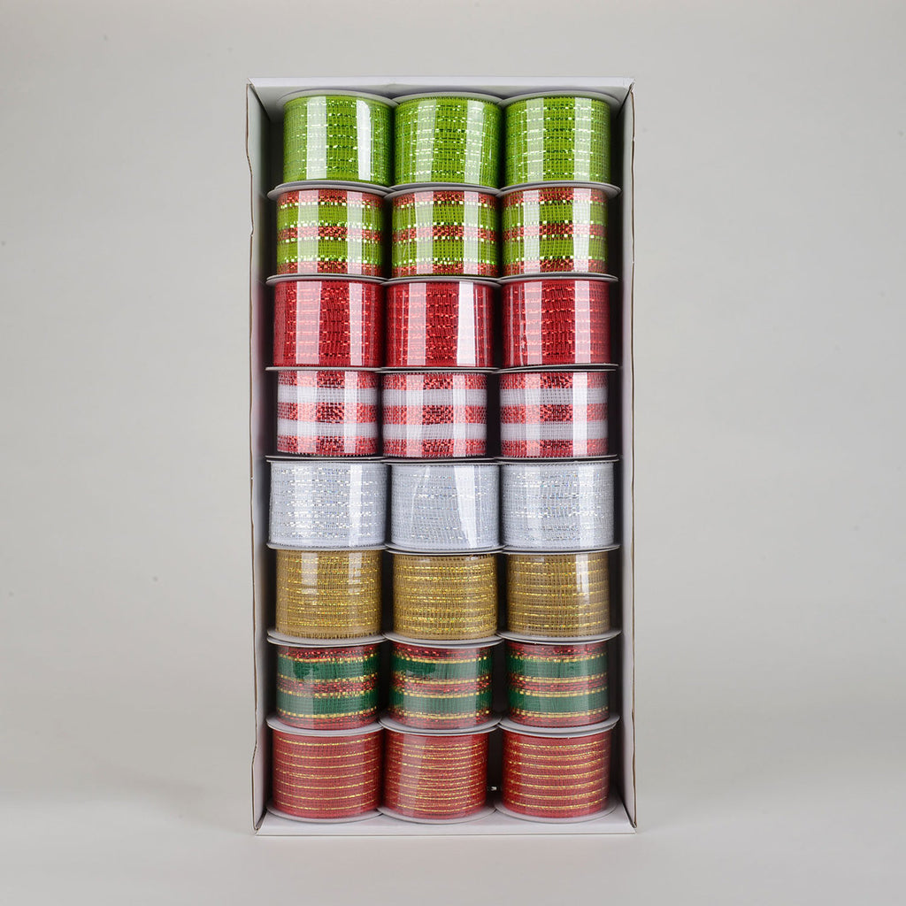 Christmas Ribbon Assorted Color - ( 2-1/2 inch x 10 Yards - 24 Rolls) - JS12XB101