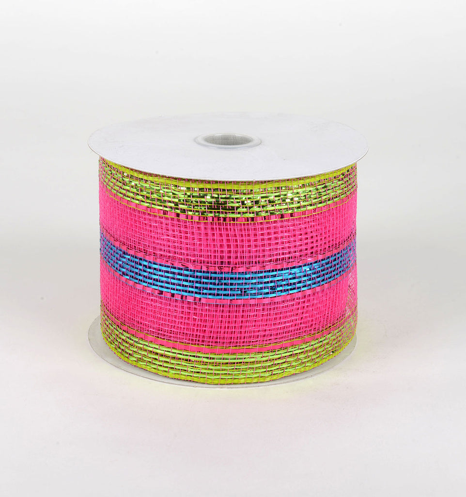 Fuchsia Turquoise Green- Laser Metallic Mesh Ribbon - ( 4 inch x 25 Yards )