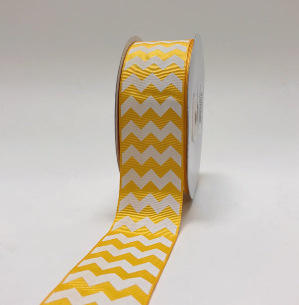 Light Gold - Chevron Design Grosgrain Ribbon ( 1-1/2 inch | 25 Yards )
