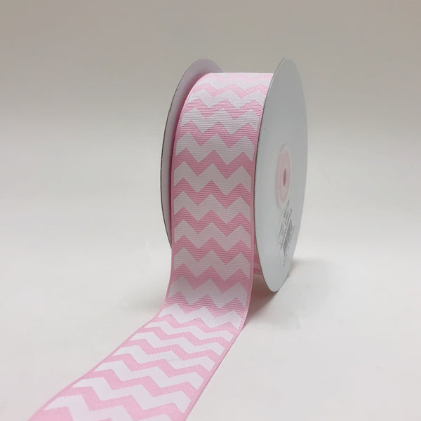 Light Pink - Chevron Design Grosgrain Ribbon ( 1-1/2 inch | 25 Yards )