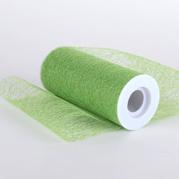 6 x 10 Yd Glitter Sisal Mesh Roll -  Apple Green