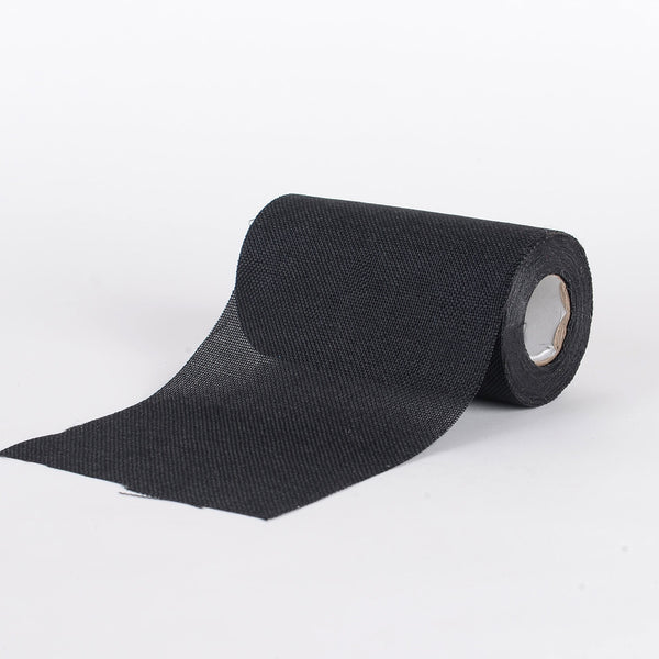 Black -  Faux Burlap Roll ( W: 6 inch | L: 10 Yards )