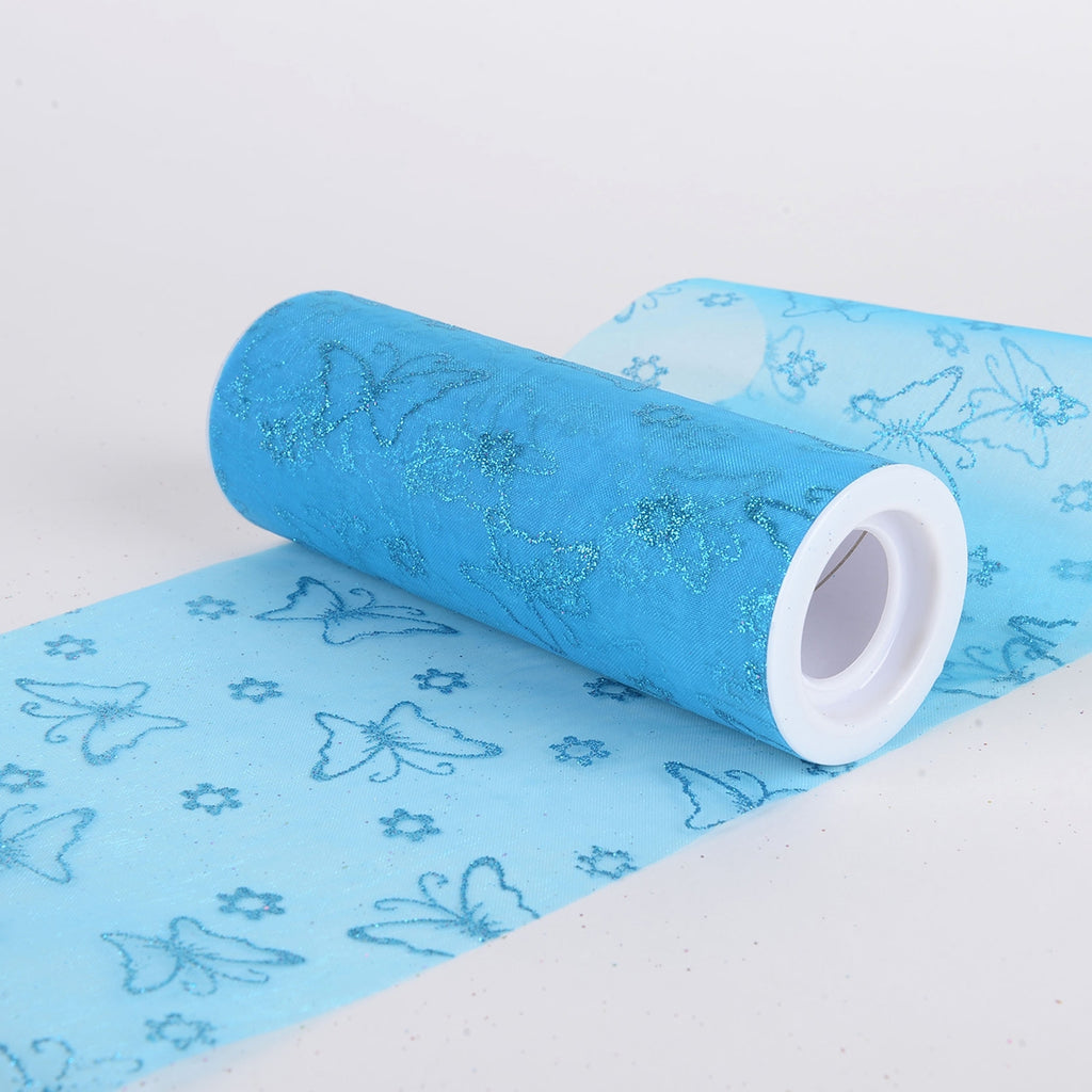 Glitter Butterfly Organza Roll -  Turquoise