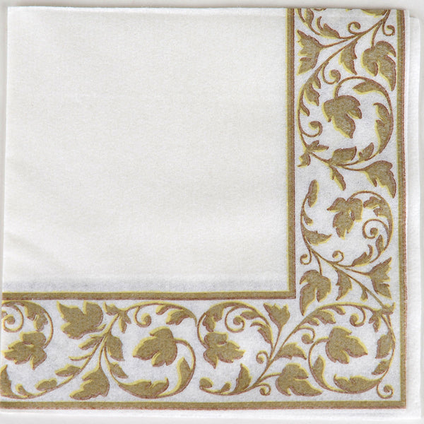 White With Gold Border Party Pack Beverage Napkins 24pcs