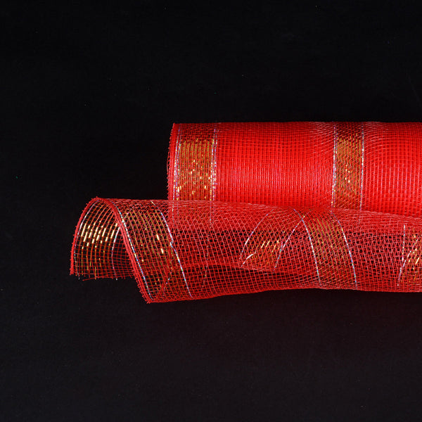 Red with Gold Lines Christmas Mesh - 10 Inch x 10 Yards
