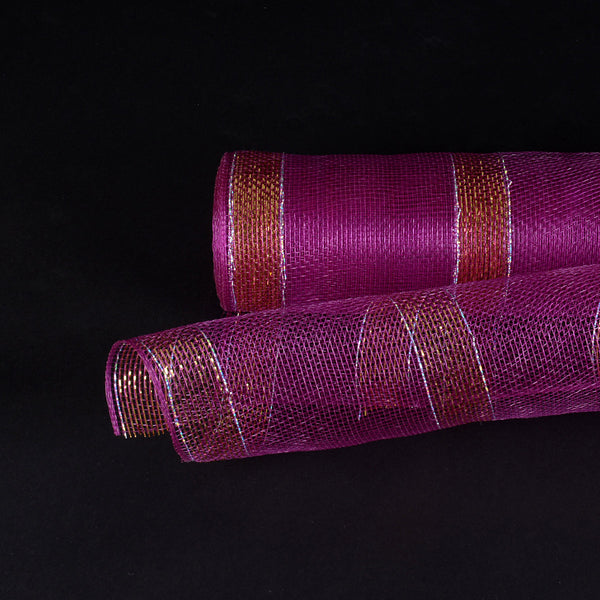 Plum with Gold Lines Christmas Mesh - 21 Inch x 10 Yards