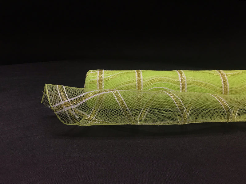 Apple Green  - Poly Deco Xmas Check Mesh Metallic Stripe -  ( 21 Inch x 10 Yards )