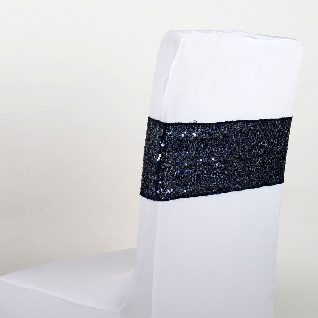 Sequin Chair Sash - Navy Blue  5 pieces