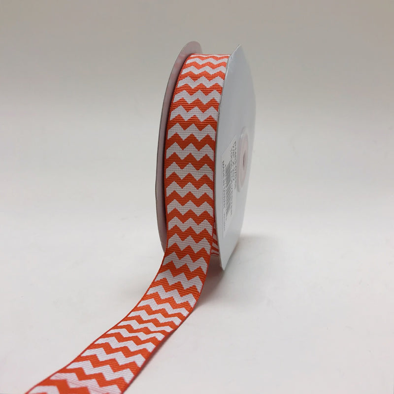 Orange - Chevron Design Grosgrain Ribbon ( 7/8 inch | 25 Yards )