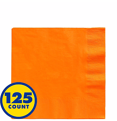 Orange Big Party Pack Beverage Napkins 125pcs