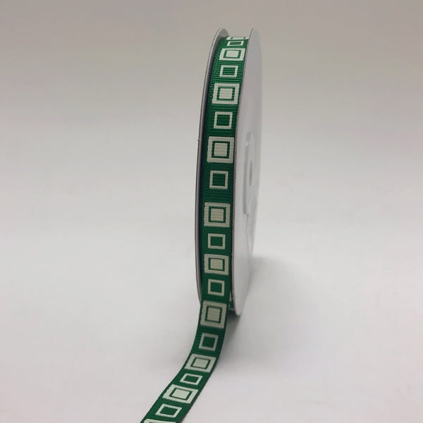 Emerald - Square Design Grosgrain Ribbon ( 3/8 inch | 25 Yards )