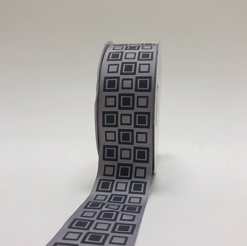 Grey - Square Design Grosgrain Ribbon ( 1-1/2 inch | 25 Yards )