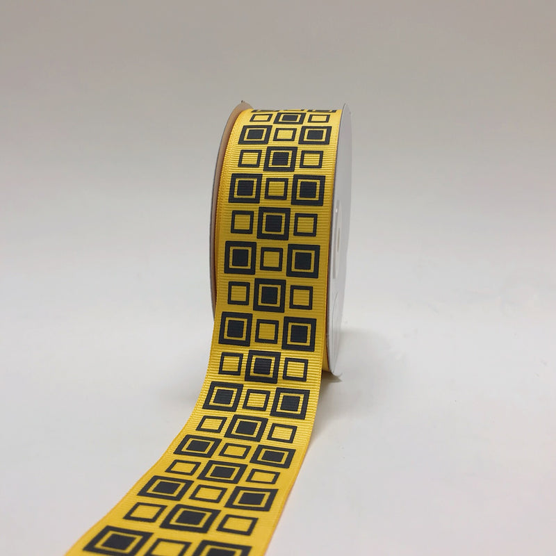 Yellow with Black - Square Design Grosgrain Ribbon ( 1-1/2 inch | 25 Yards )