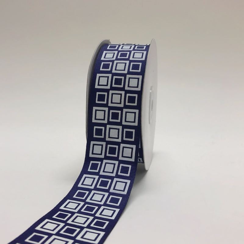 Navy Blue - Square Design Grosgrain Ribbon ( 1-1/2 inch | 25 Yards )