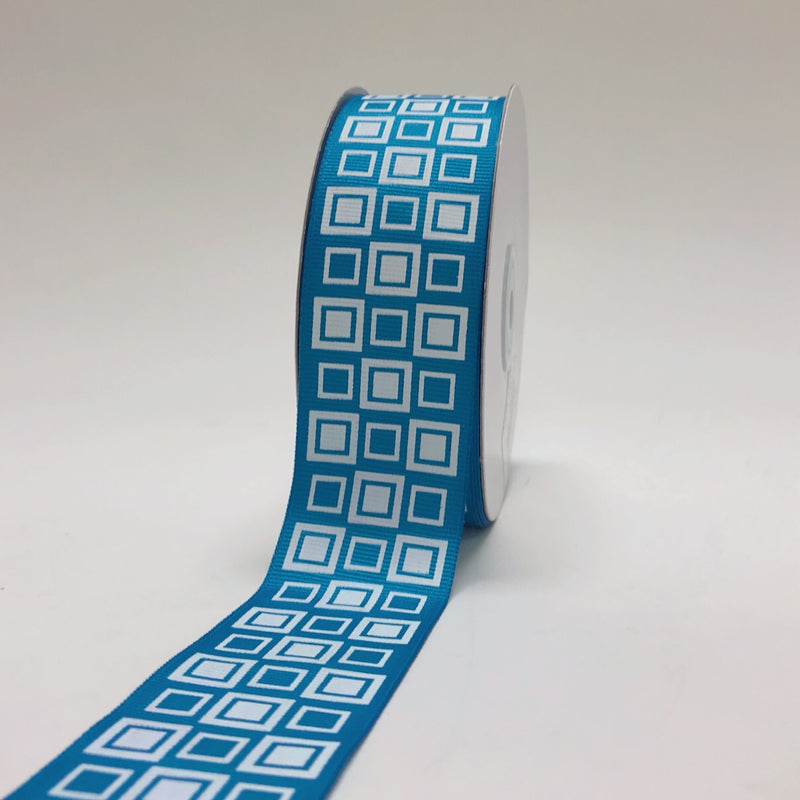 Turquoise - Square Design Grosgrain Ribbon ( 1-1/2 inch | 25 Yards )