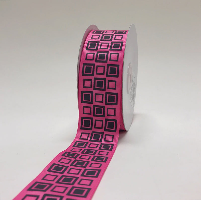 Hot Pink with Black - Square Design Grosgrain Ribbon ( 1-1/2 inch | 25 Yards )